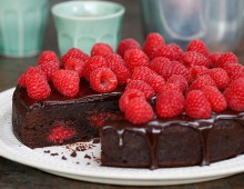 Indulgent chocolate and raspberry brownie