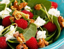 Raspberry, spinach and Persian feta salad with salted candied walnuts