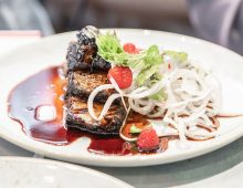Glazed Blackberry Beef Brisket with White Radish and Raspberry Salad