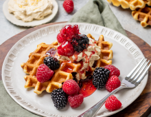 Berry Belgian Waffles with Whipped Maple Butter